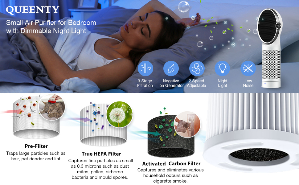 QUEENTY Portable Air Purifier for Bedroom - True HEPA & Actived Carbon Filter, Home Office Desktop USB Air Cleaner with Night Light, Negative Ion Air Freshener for Allergy, Dust, Pollen, Smoke, FW02