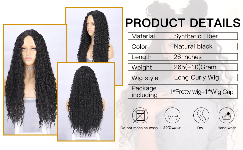 26 inches kinky curly long wigs for daily party use wigs