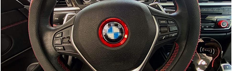 iJDMTOY (1) Sports Red Aluminum Steering Wheel Center Decoration Cover Trim