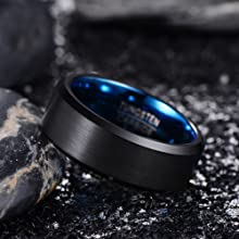 blue tungsten rings for men
