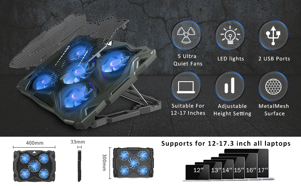 cooling pad  Pccooler Laptop Cooling Pad, Portable Laptop Stand with 6 Angle Adjustable & 5 Quiet Blue LED Fans for 12-17.3 Inch Gaming Laptop, Laptop Cooler Built-in Dual USB Ports Support Mouse Device, Keyboard 707bcbd7 4c73 4f3c a9e1 40c607947786