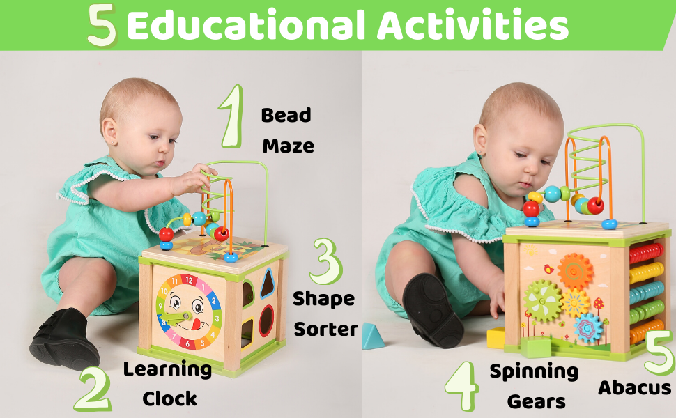 5 educational Activities: Bead Maze Learning Clock Shape Sorter Abacus Spinning Gears
