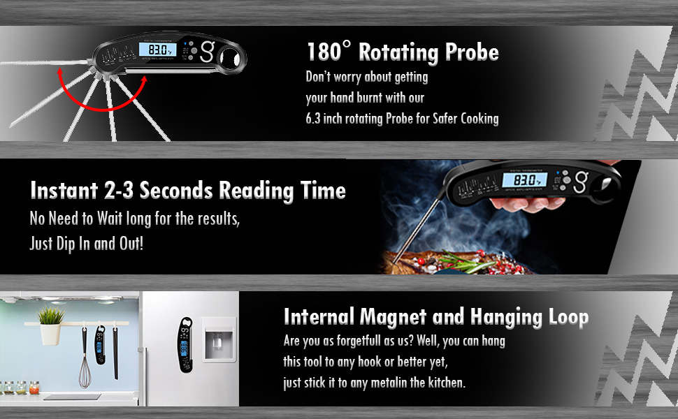 digital meat thermometer features instant magnet loop rotating probe