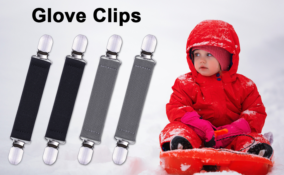 4 Pack Mitten Clips with Elastic Straps for Kids Toddle and Adults wisdompro Glove Clips