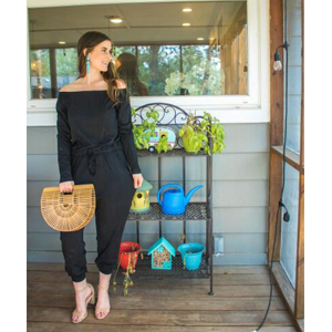 Women's Casual Off Shoulder Long Sleeves Drawstring Belt Stretchy Jumpsuit Pants with Pockets