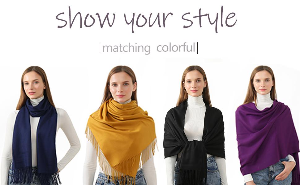 Soft Pashmina Scarf for Women Shawl Wrap Stylish Large Scarves