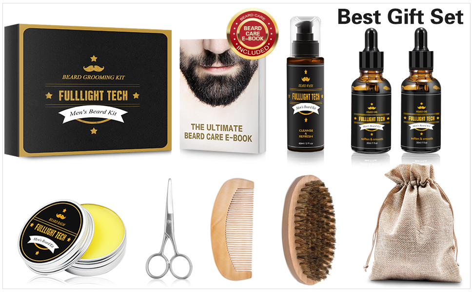 complete beard grooming kit with shampoo oil balm comb brush scissors beard shaping tool barbe penci