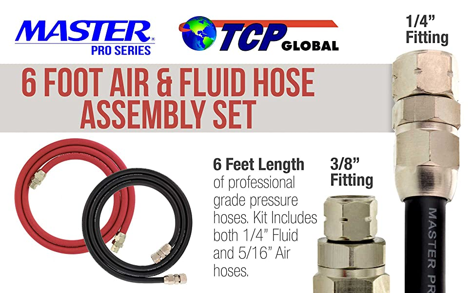 Air Hose 3//8 NPS Paint Pressure Pot Tanks Master Pro Series 6 Foot Air and Fluid Hose Assembly Set with Fittings for Spray Guns Fluid Hose 1//4 NPS 1//4 ID 5//16 ID Professional Heavy Duty