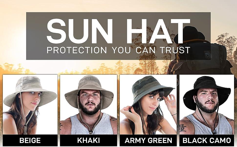 Khaki army green protection you can trust Sun Hat beige black camo womens summer hat hiking walking