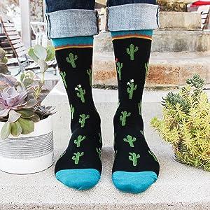 mens novelty funny fun socks cactus outdoors cacti succulent