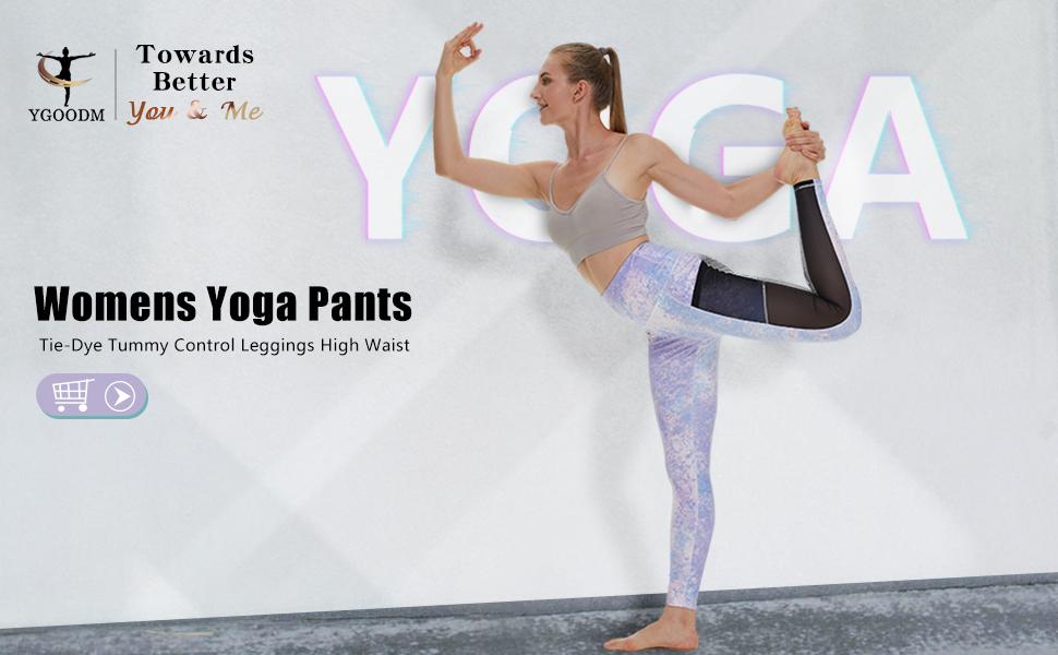 Women Yoga Pants High Waist Tie Dye Mesh Pockets Colorful Workout Tummy Control Running Leggings