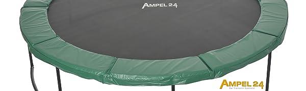 Ampel 24 trampoline omranding dik gevoerd als beschermrand boven de veren voor maximale veiligheid