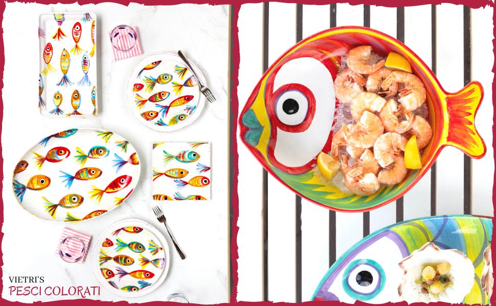 vietri pesci colorati coastal dinnerware ceramic bowl glassware italy handpainted plates fish