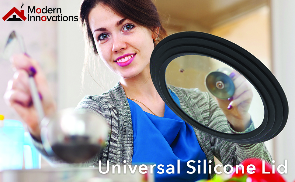 Universal Lids for Pots, Pans and Skillets (Set of 2) Silicone Smaller Lid