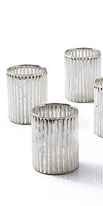 "4"" Silver Corrugated Glass Votive Holder, Set of 4 Reception Wedding Party Event Bulk Aromatherapy"