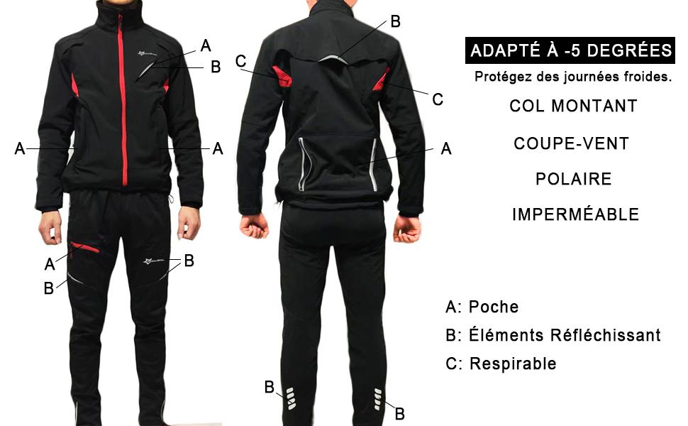 Longue Pantalon Homme Femme Chuad en Polaire R/ésistant /à leau R/éfl/échissant V/élo VTT ROCKBROS Cyclisme Veste Hiver