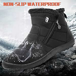 FEETCITY Men's Winter Snow Boots Waterproof Insulated Fully Fur Lined Warm Outdoor Shoes Women 7.5 B