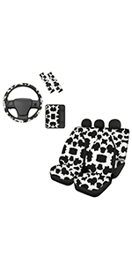 Cow Print Front Rear Seat Covers with Steering Wheel Cover Armrest Cover Seatbelt Pads