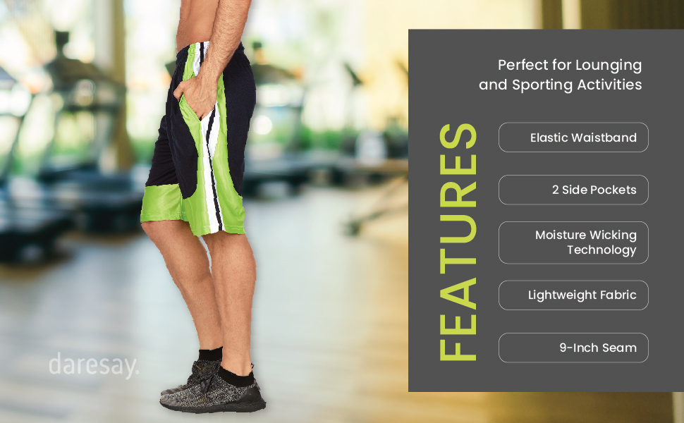 daresay mens athletic shorts features elastic waistband 2 side pockets moisture wicking technology