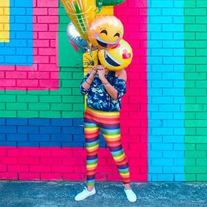 rainbow striped leggings for women