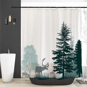 Details about  /Grey Fog Forest Deer Family Shower Curtain Bathroom Decor Fabric 12hooks 71in