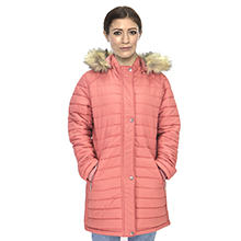 Women's Long Hooded Jacket Lightweight Water-Resistant Puffer Coat with Faux Fur Hood