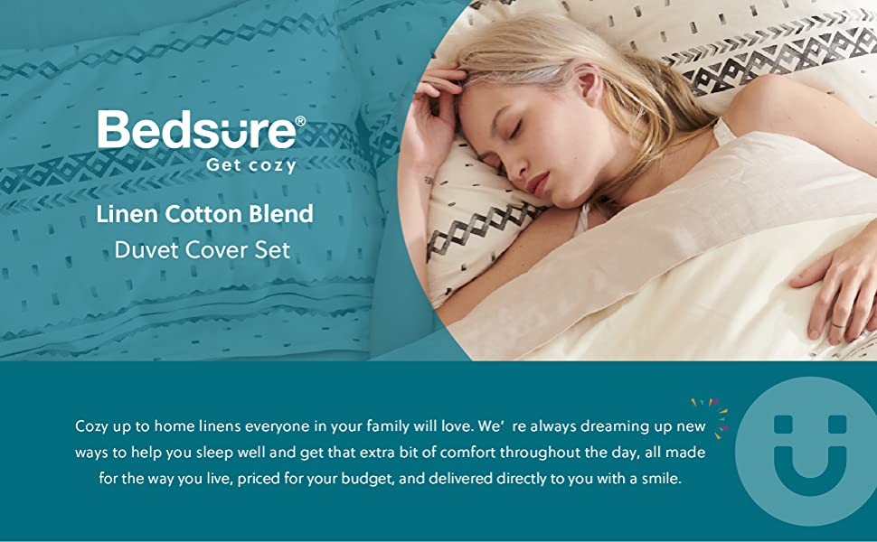 get cozy with the Bedsure 80% Cotton 20% Linen Duvet Cover Set, Washed Cotton Queen Comforter Cover