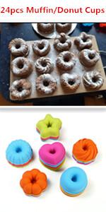 reutilizables y multicolores Moldes para pasteles de silicona lavables en lavavajillas y aptos para horno el/éctrico. 24 moldes de silicona para magdalenas y dulces
