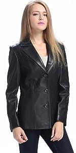 BGSD Women's Crystal Lambskin Leather Blazer