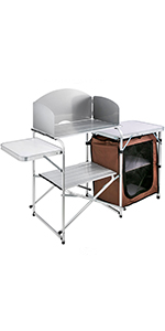 camping kitchen table with storage