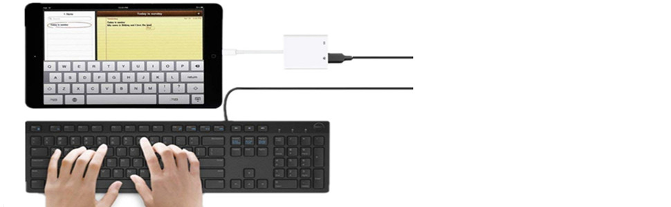 Apple USB to Camera keyboard adapter for iPhone and iPad