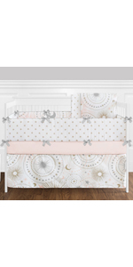 Pink, Gold, Grey and White Star and Moon Celestial Baby Girl Crib Bedding Set