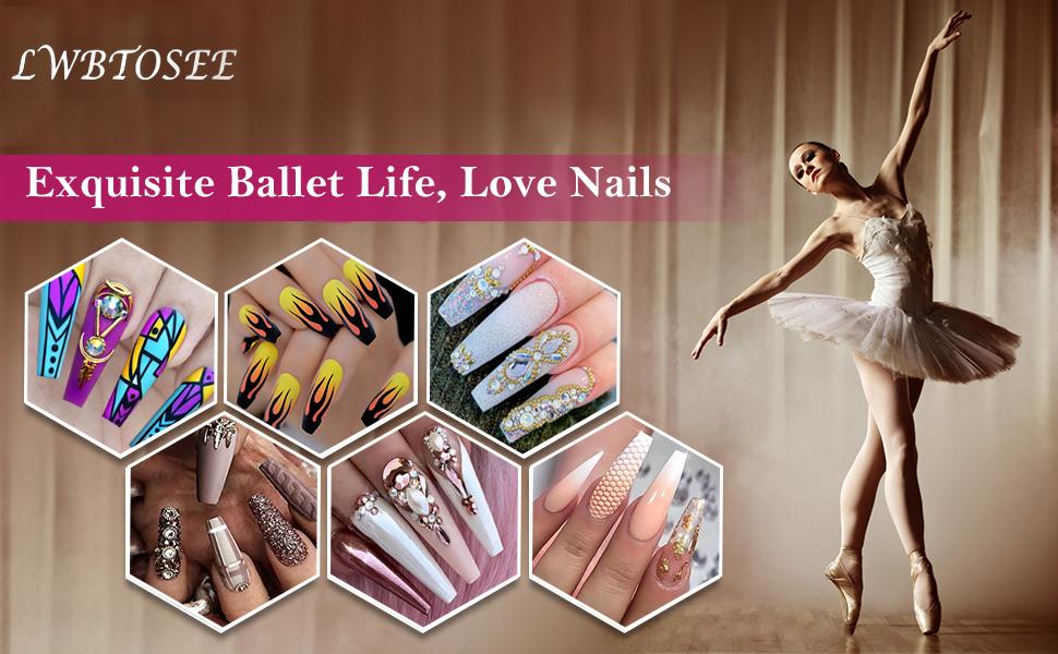 Coffin Ballerina Nail Tips