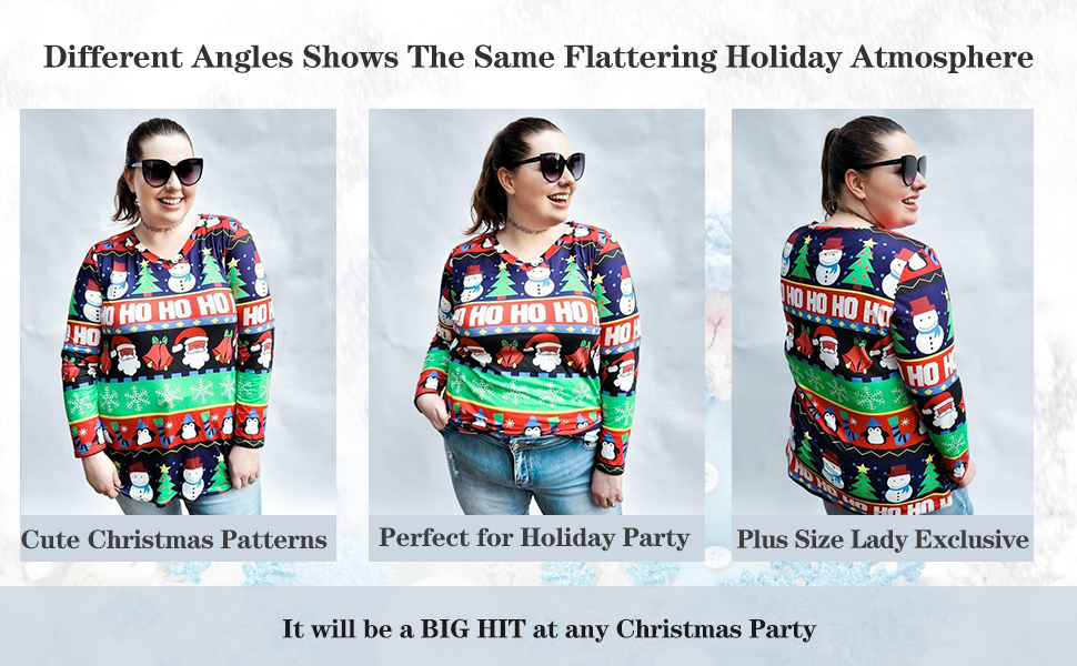womens plus size christmas tops