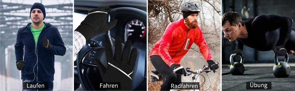 VBIGER Handschuhe Herren Damen Warme Fahrradhandschuhe Sporthandschuhe rutschfest Tactile mit Touchscreen zum Laufen Handschuhe Radfahren Motorrad Sport mit Fleece Liner f/ür Herbst und Fr/ühwinter