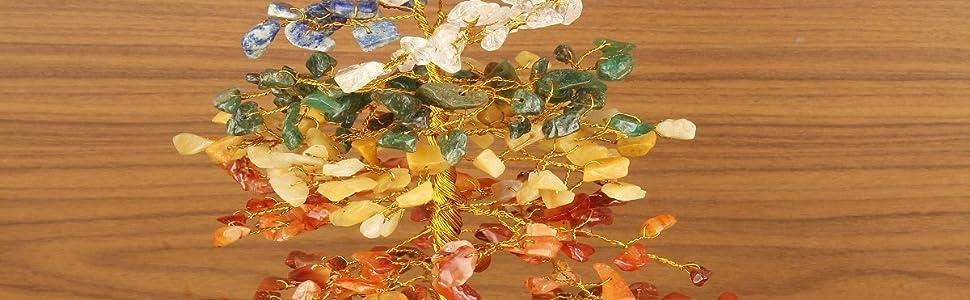 seven chakra gemstone tree healing crystal home kitchen spiritual decor peace gift present gem emf