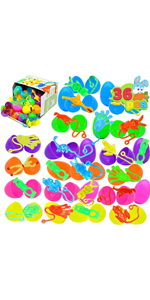36 PCs Prefilled Easter Eggs with Stretchy Sticky Toy