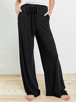 Reukree Womens Loose Fit Palazzo Trousers Wide Leg Trouser with Pockets