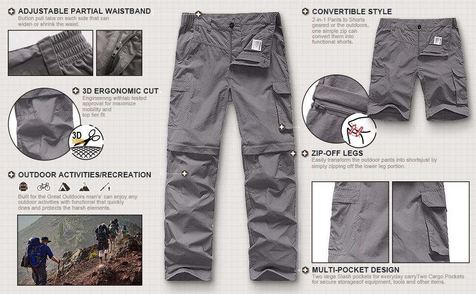 Kid's Boy's and Girl's Pants Youth Hiking  Convertible Zip Off Camping UPF 50+ Quick Dry Cargo