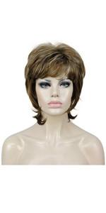 Short Layers Shaggy Full Wig Natural Wavy Wigs Synthetic Hair