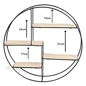 Wandregal rund Metall Holz Gewürzregal Küchenregal Industriedesign