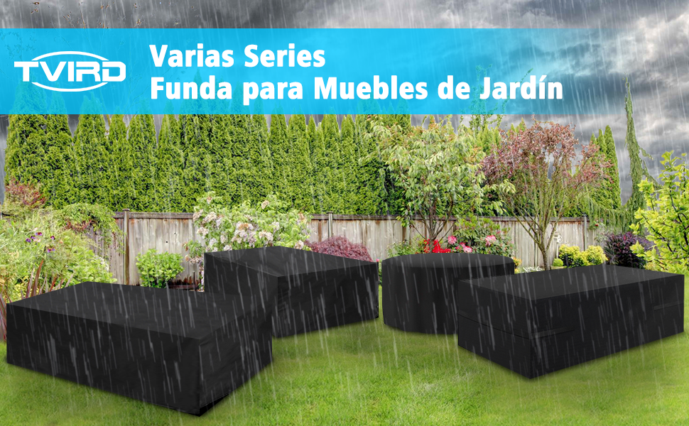 Tvird Funda para Muebles de Jardín, Copertura Impermeable para Mesas Rectangular, Cubierta de Exterior Funda Protectora Muebles Mesas Sillas Sofás Exterior 600D Oxford (242 x 162 x 100CM) -Negro: Amazon.es: Jardín