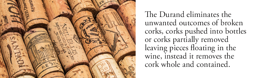 eliminates broken corks, cork pushed into bottle, partially removed cork, cork pieces floating
