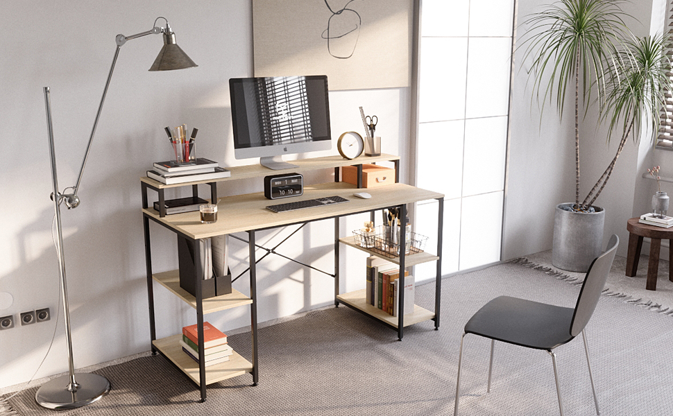 Ergonomic desk with monitor shelves