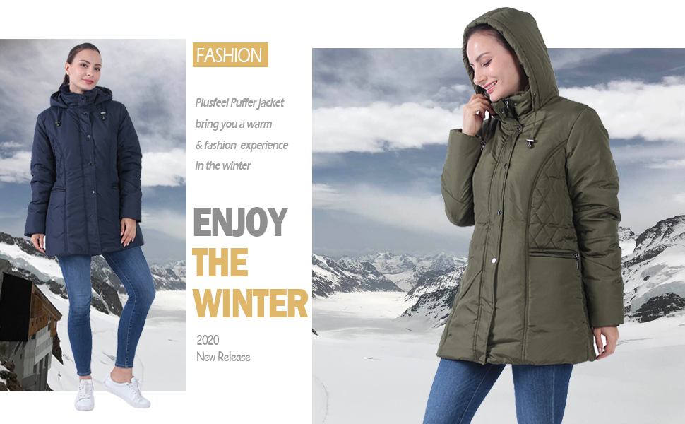 Women's Winter Parka Down Alternative Thickened Jacket Overcoat with Fur Hood