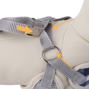 adjust straps to fit pet's body