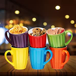 orcelain Stackable Mug Set - 16 Ounce for Coffee, Tea, Cocoa and Mulled Drinks