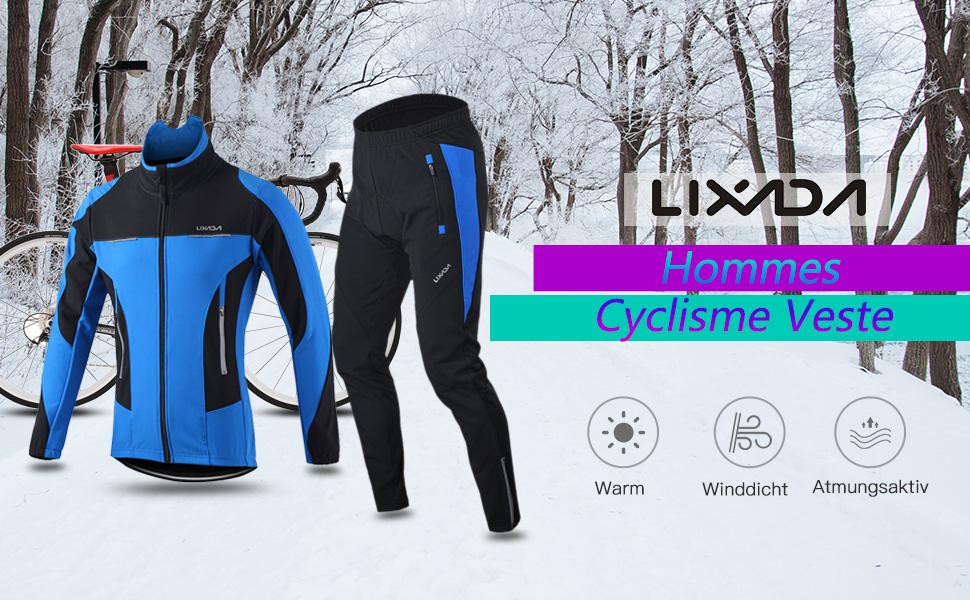 Maillot de Cyclisme Set Hiver Long Manches Thermique Polaire Coupe-Vent Cyclisme Jersey Manteau Veste avec 3D Rembourr/é Pantalon
