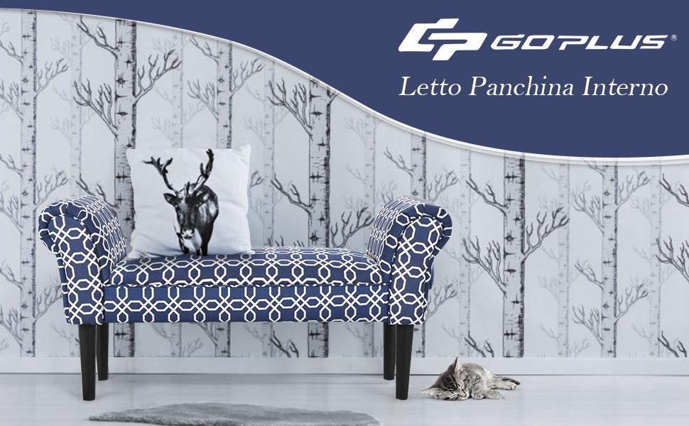 GOPLUS Panca con Gambe di Legno per Camera da Letto Nero e Multicolori 102x51x31 cm Multicolori