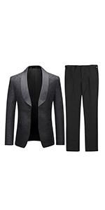 Mens Suits 2 Pieces Wedding Formal Jacquard Shawl Lapel Tuxedo Jacket/&Trousers